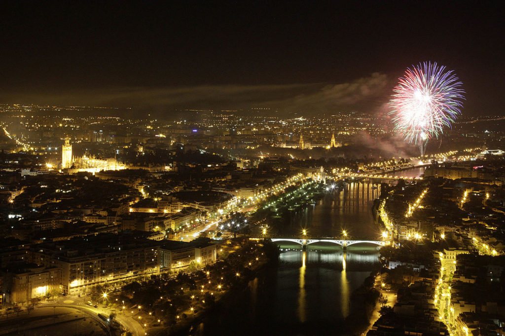 Air view of the April Fair of Seville's Fireworks
